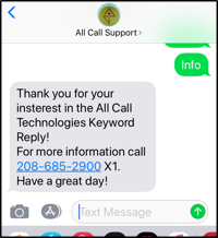 SMS Text INFO Reply